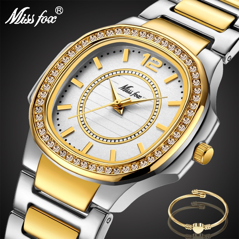MISSFOX Two-Tone Watch Women Diamond Bezel Casual Business Round Analog Lady Watch Steel Bracelet Imported Japan Quartz Watch