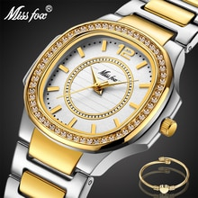 MISSFOX Two-Tone Watch Women Diamond Bezel Casual Business Round Analog Lady Watch Steel Bracelet Im