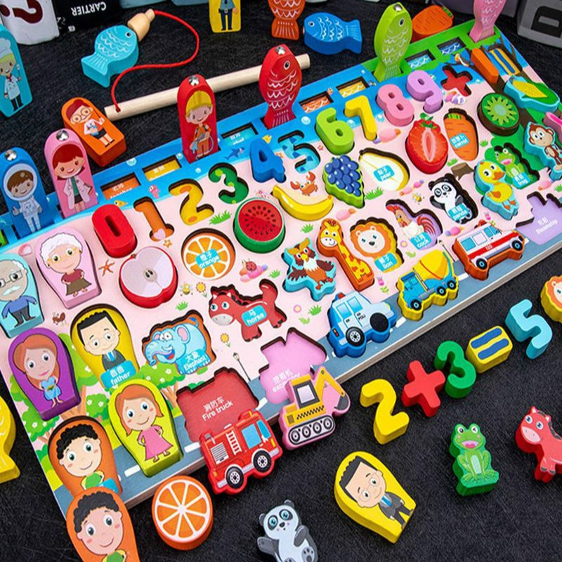 Educational Wooden Toy For Kids Board Magnetic Math Fishing Count Numbers Matching Shape Early Learning Children Toys lagopus 100 pieces of educational toys wooden toys wooden suits small train tracks children early education toy for children