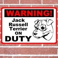 jack russell terrier guard dog on duty warning tin sign poster home pubs bars poster wall art poster coffee garden office man