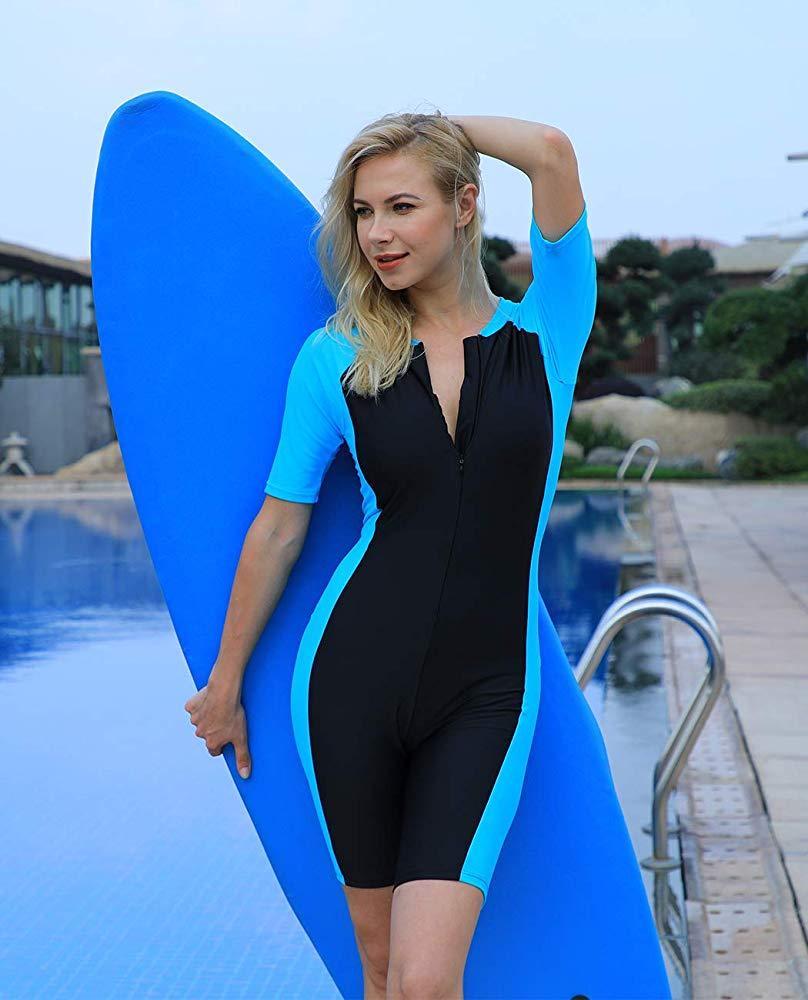 Surf para las mujeres playa traje de baño de las mujeres de manga corta Surf una pieza de Surf trajes de baño 1 pieza de las mujeres traje de baño