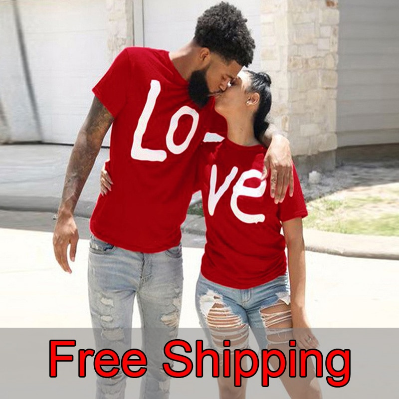 Couple T-shirt Summer Couple LOVE Printed Clothes Couple Tshirt Christmas Casual Cotton Short Sleeve