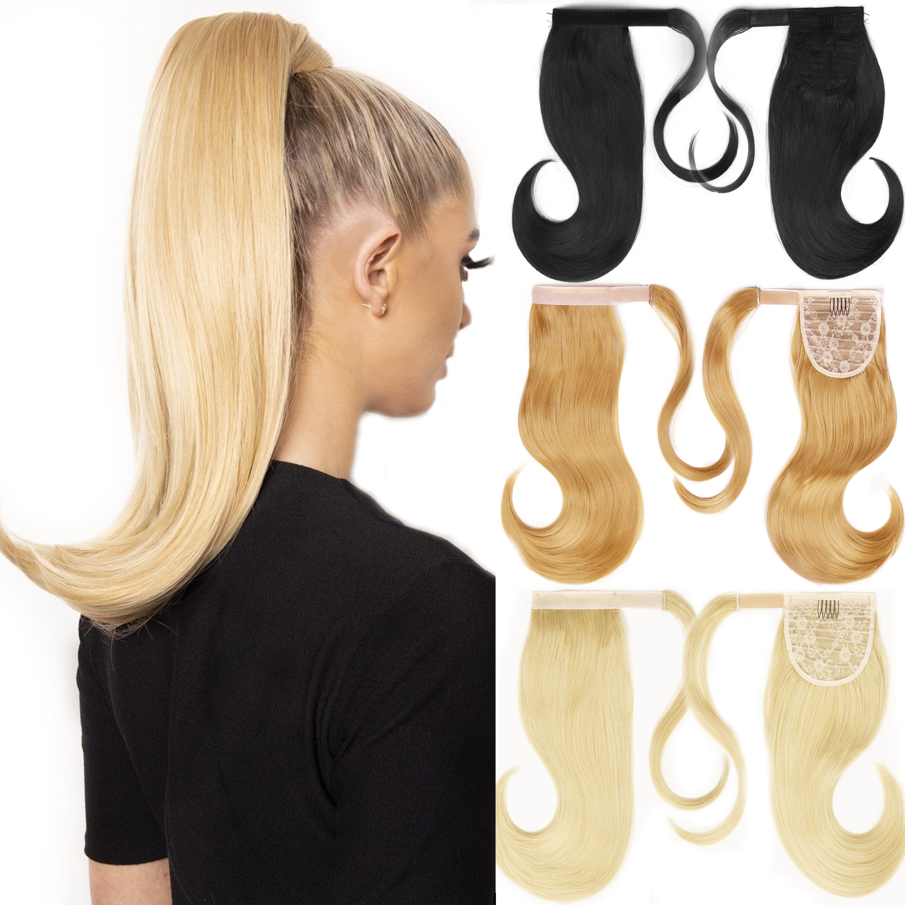 AliExpress - MERISIHAIR Bounce Wraparound Ponytail Hair Pieces Synthetic Straight Hair Extensions With Combs Warp Ponytails For Women