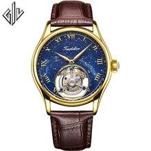 Tourbillon GIV hommes montres haut de gamme de luxe véritable Tourbillon horloge hommes nouveau saphir étanche mécanique montre Relogio Masculino