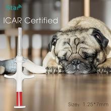 Ithal en küçük 1.25x7mm Bioglass etiketi 134.2KHz FDX-B köpek çip hayvan Implant RFID mikroçip enjektör veteriner şırınga transponder