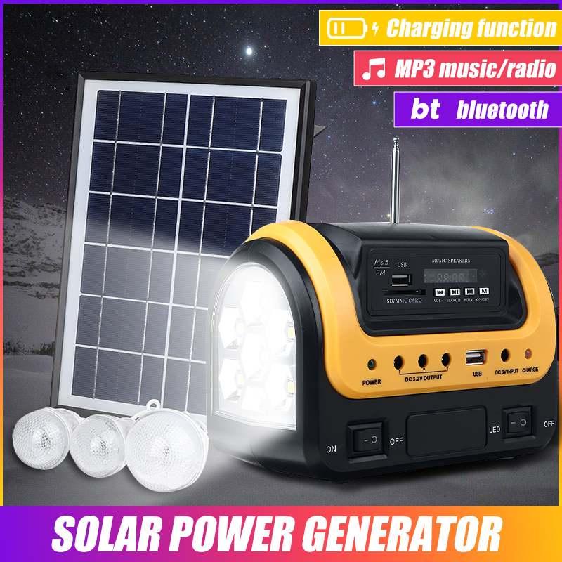 Sistema de Energia Solar ao ar Sistema de Iluminação Usb com Alto-falante Mini Livre Portátil Gerador Solar Painel Carregador Bluetooth Led