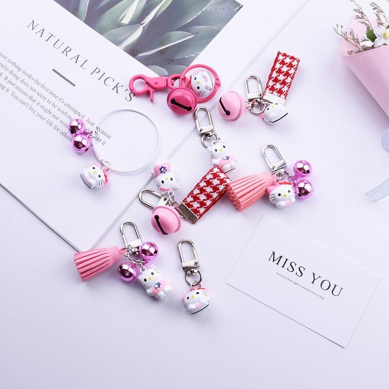 Hello Kitty Key Chain Lovely Bell Tassel Lanyard Cat Key Ring Girls Women Bag Pendant Cute Small Gift Accesorios llaveros New