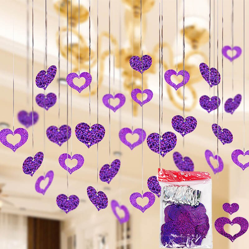 100pcs/lot Purple Heart Laser Sequined Rain Balloon Pendant Romantic Wedding Room Birthday Party Dec