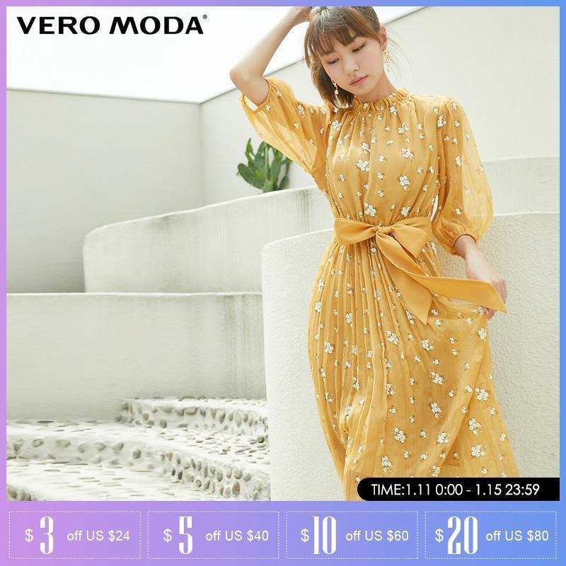 Vero moda outono romântico floral lanterna manga platycodon vestido longo feminino   31936z506
