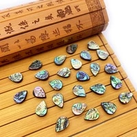 3pcspackage straight hole leaf shaped natural abalone shell loose beads colorful carving diy fashion jewelry necklace gifts