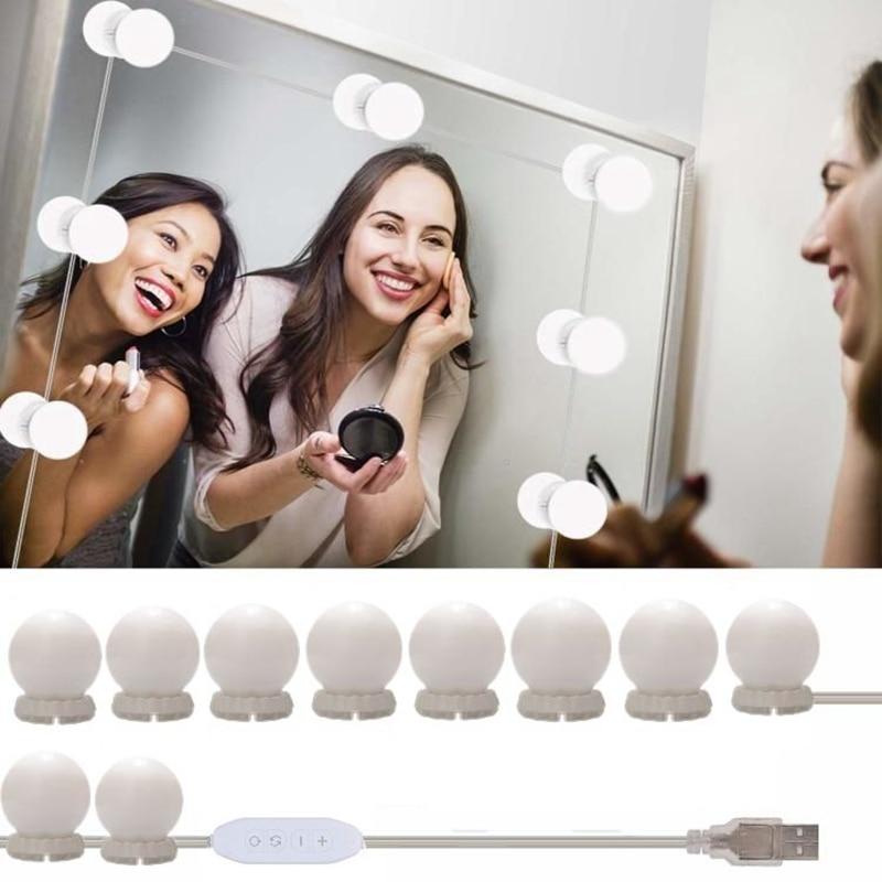 ハリウッドスタイルledミラーライト化粧鏡usb化粧品ランプ 10 電球キット 3 色照明美容ドレッシング