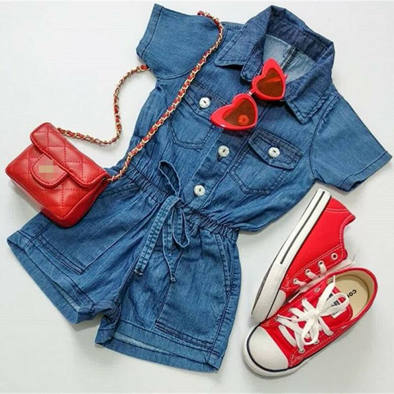 UK Toddler Kid Baby Girl Romper Short Jumpsuit Bodysuit Denim Outfit One-Piece