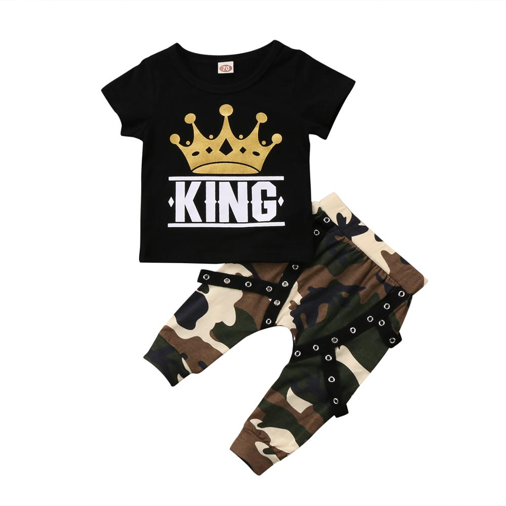 Pudcoco Boy Set 0-5Y Newborn Kids Baby Boys Tops T-shirt Camo Pants 2PCS Outfits Clothes 0-5Years