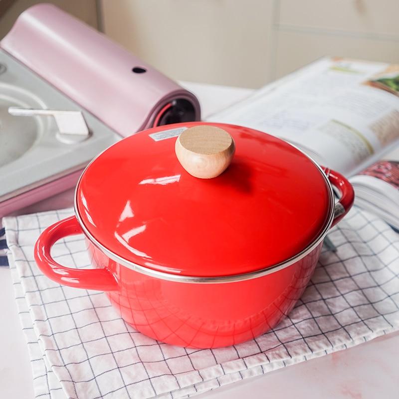 Olla de porcelana japonesa esmaltada para estofado, doble oreja, sopa, arroz, esmalte electromagnético, horno, olla para cocinar, cacerola, cacerola