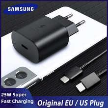 Сверхбыстрое зарядное устройство для Samsung S21 Note 20 10 A70, зарядное устройство, 25 Вт, адаптер питания европейского стандарта для Galaxy Note20, S20, A90, A80, ...