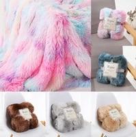40 off rainbow plush super soft blanket colorful bedding sofa cover furry fuzzy fur warm throw cozy blanket