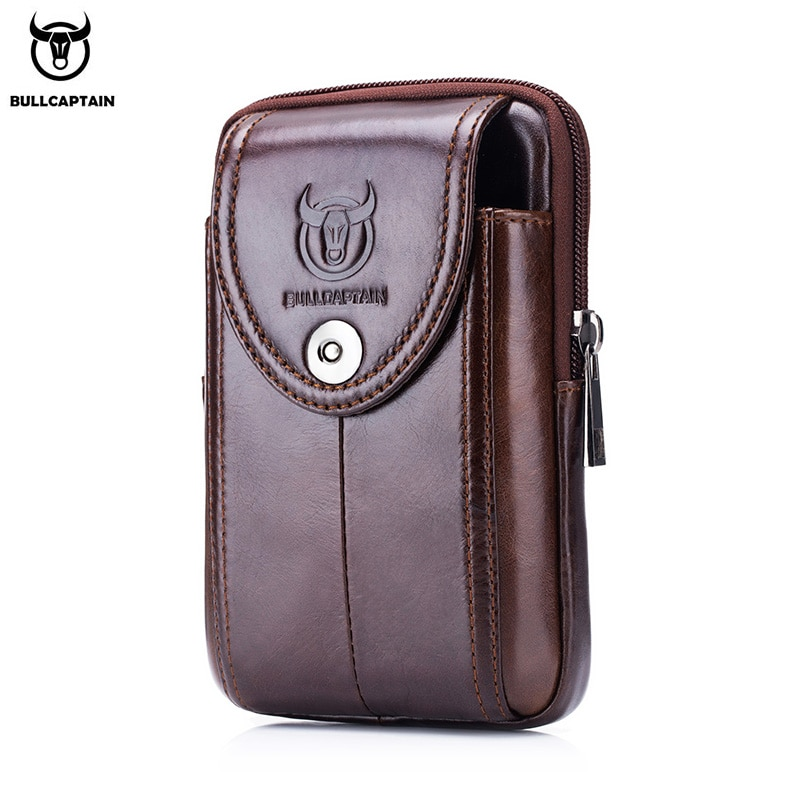 men cowhide genuine leather military cell mobile phone cover case skin hip belt bum purse fanny pack waist bag pouch BULLCAPTAIN  MEN'S leather BELT WAIST bag military Fanny PACK molle small money phone WAIST PACK bum pouch PURSE