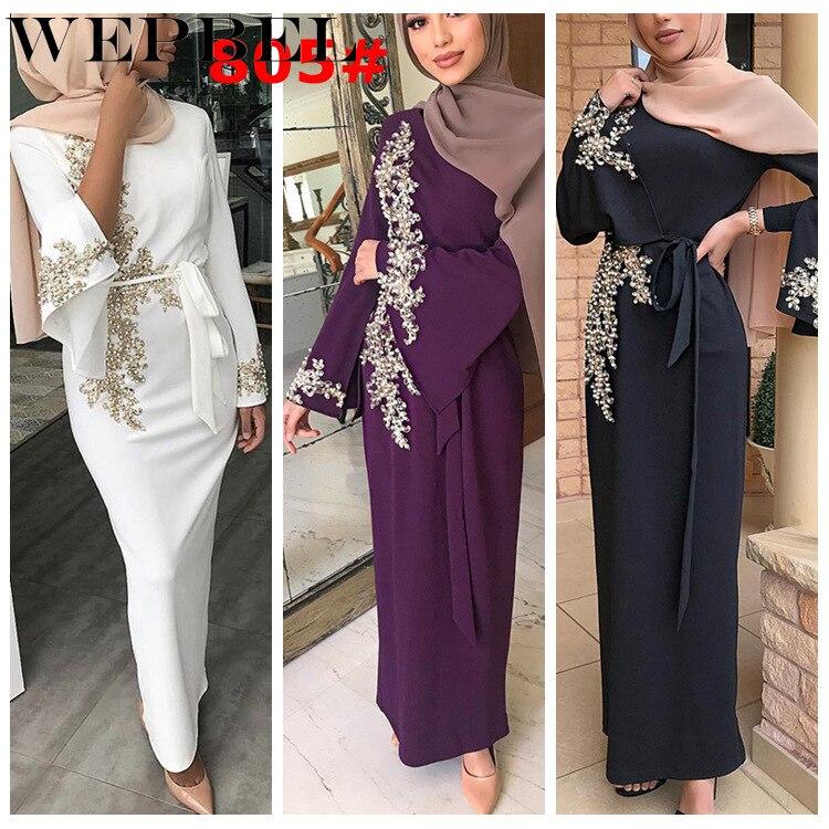 Wepbel vestido feminino muçulmano abaya floral rendas moda casual manga cheia novas senhoras islâmicas longo maxi vestidos