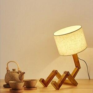 Nordic table lamp led flexo eye protect creative robot table lamps for bedroom bedside lamp 2 desk lamp wood study night lights