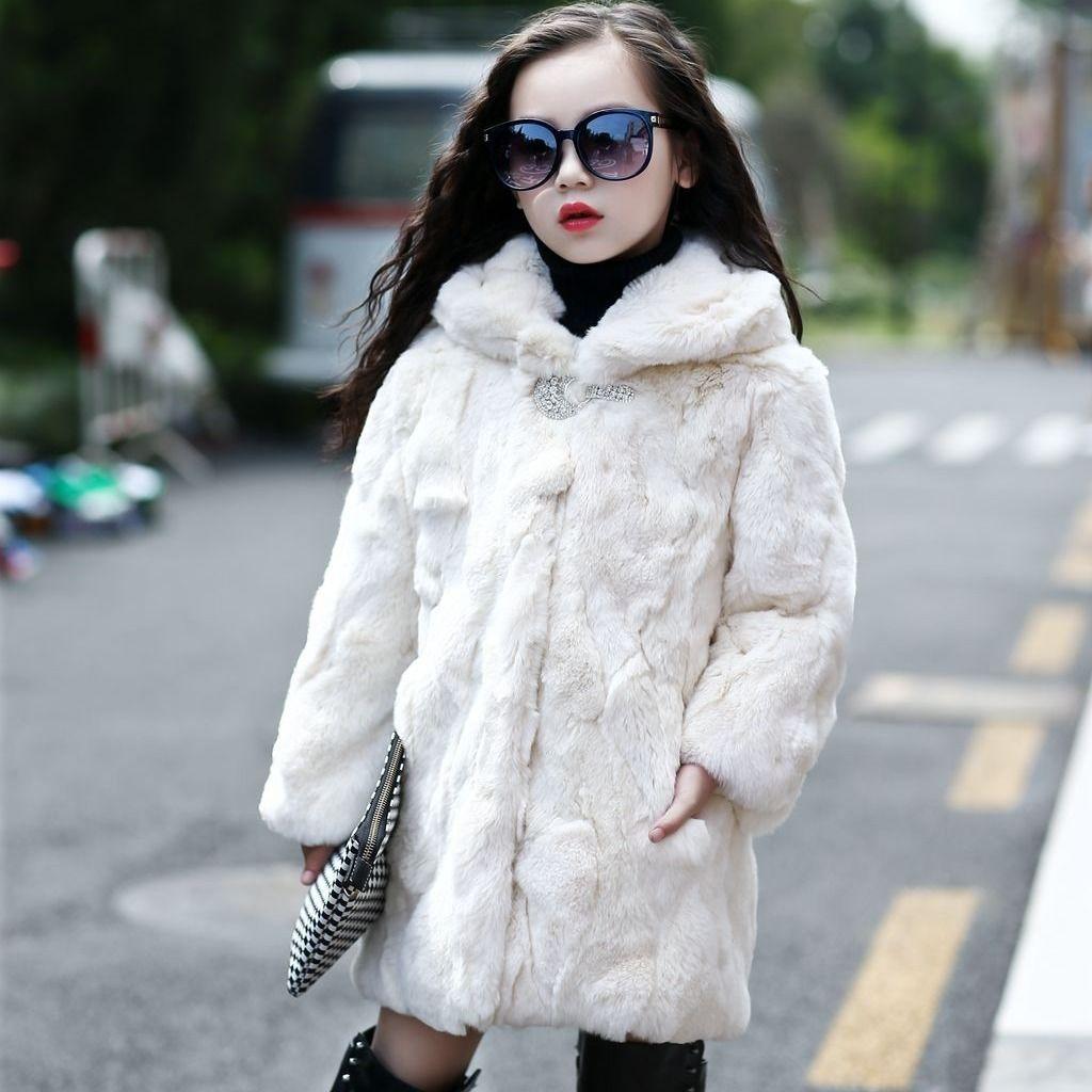 Children Real Fur Outerwear Kids Rabbit Fur Coat for Girls and Boys Girls Natural Fur Jacket Winter Natural Fur Boy Coat Hoodies