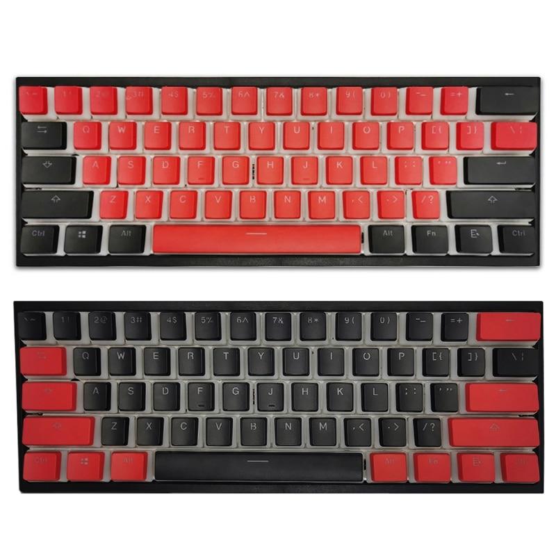 104 مفاتيح/مجموعة PBT أغطية مفاتيح بإضاءة خلفية بلونين بودنغ Keycap OEM الشخصي للوحة المفاتيح الميكانيكية Cherry Mx الأسود والأحمر