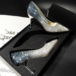Wedding shoes female 2019 new crystal sequins ladies high heels pointed dress wedding shoes