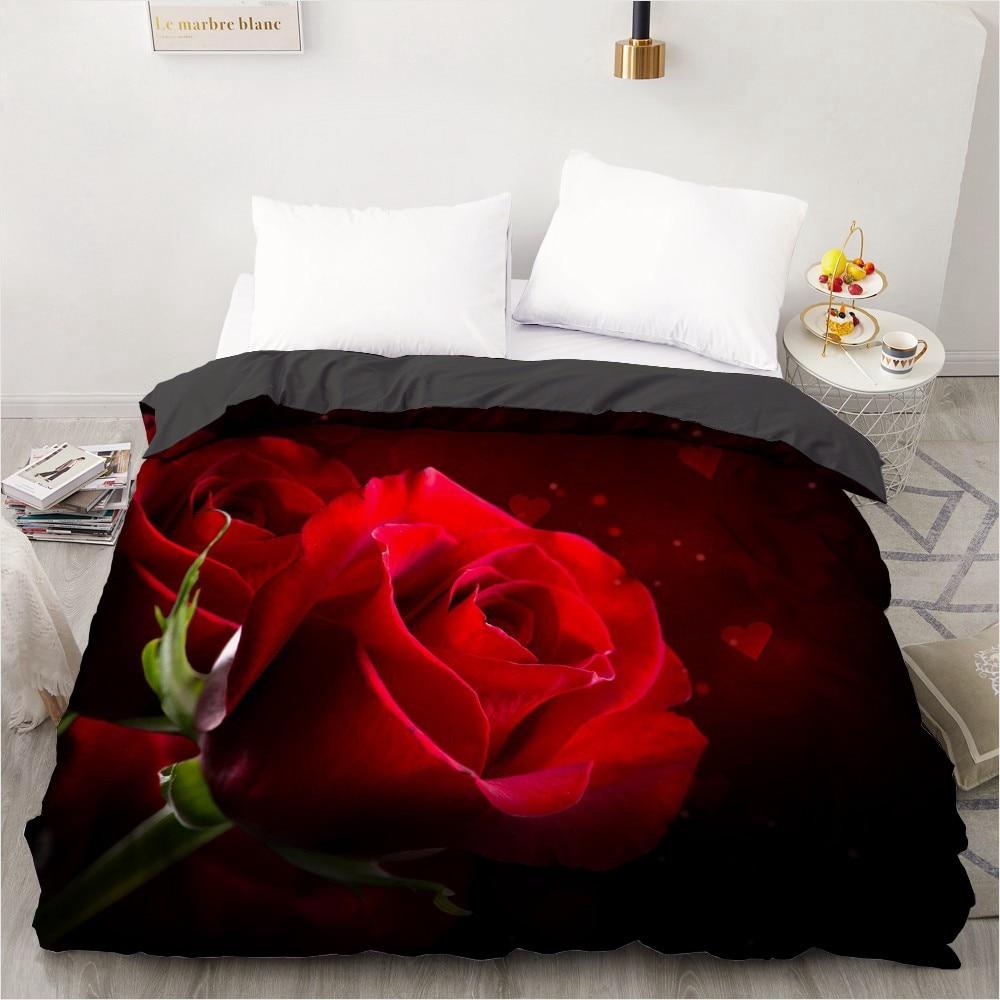 غطاء لحاف ثلاثي الأبعاد مخصص ، 240 × 220 ، 200 × 220 ، غطاء لحاف/غطاء بطانية ، سرير كوين كامل ، زهور الزفاف ، ألياف دقيقة وردية