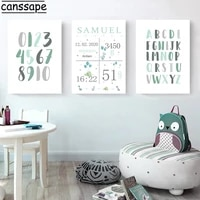 boy custom name birth print abc alphabet wall art canvas painting number enlightenment poster picture nursery decor baby room