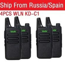 4 adet taşınabilir radyo WLN KD-C1 Mini kablosuz Walkie talkie UHF el iki yönlü telsiz iletişim cihazı verici walkie-talkie рация