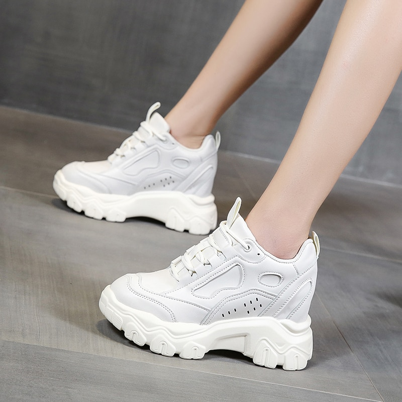 Hide Heels Women Leather Sneakers Fashion Wedges Casual Shoes Lace Up Platform Sneakers Women Spring