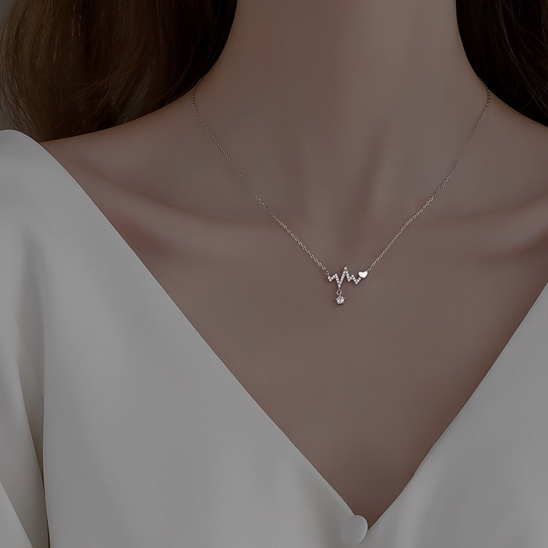 salircon geometric scallop chain necklace charming rhinestone transport new pendant necklace gold silver alloy women jewelry New 2021 Hot 925 Sterling Silver Geometric Rhinestone Zircon Pendant Necklace Women Jewelry Party Gift