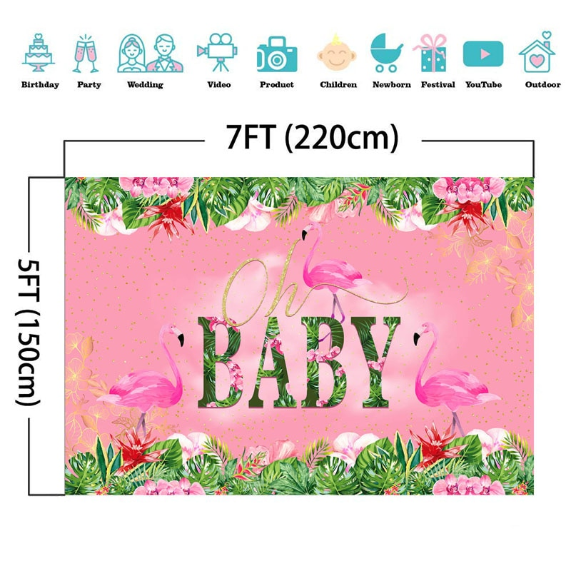 Pink Flamingo Oh Baby Backdrop Summer Flamingo Baby Shower Background For Photography Girl 1st First Birthday Party Decor Banner enlarge