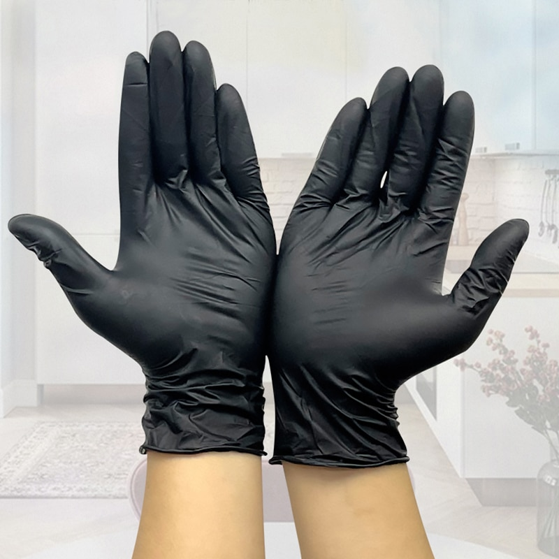 Black Gloves Disposable Latex Free Powder-Free Exam Glove Size Small Medium Large X-Large Vinyl Hand Cover S XL