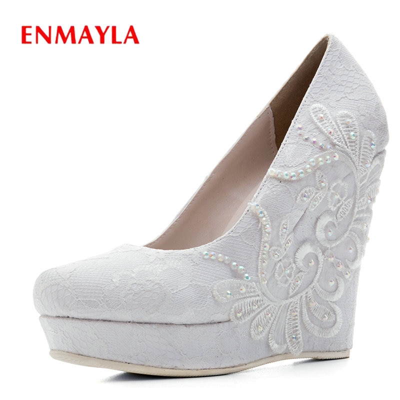 ENMAYLA Sexy Shoes Woman Basic Round Toe Slip-On Wedding Women Shoes Luxury Wedges High Heel Shoes F