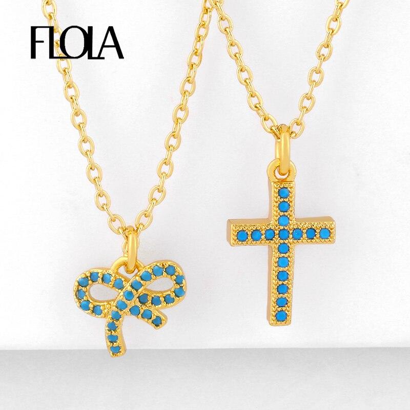Collares cruzados de cristal de FLOLA para mujer, collares de lazo pavimentado rellenos de oro, colgante de Zirconia cúbica, regalos de joyería de arco iris nkeq44