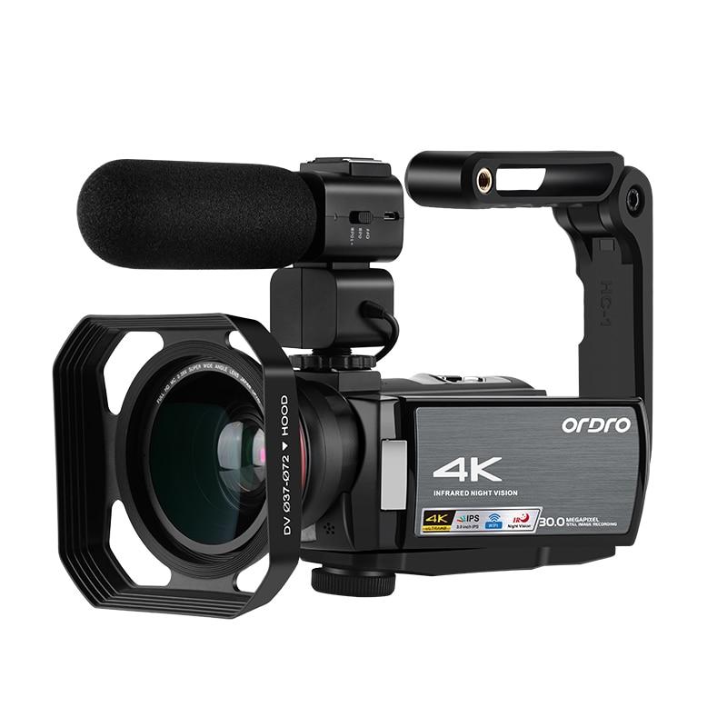 4K videocámara Digital Full HD ORDRO AE8 visión nocturna wifi 3,0 Pantalla táctil IPS Filmadora Vlog Cámara