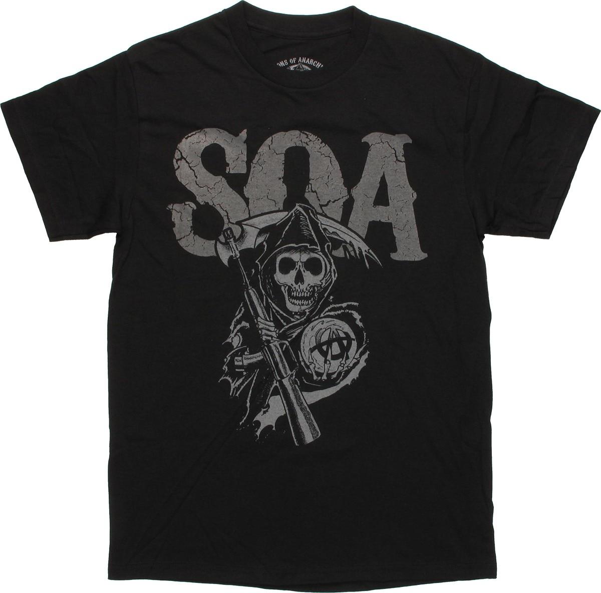 Sons of Anarchy agrietado SOA camiseta negra