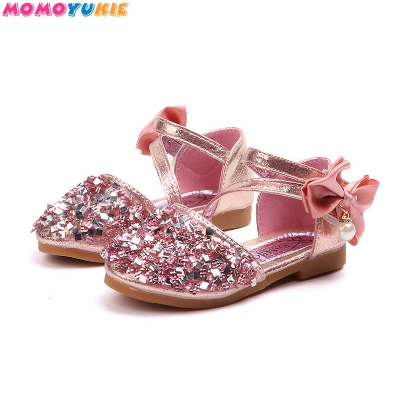 New Children Leather Shoes Rhinestone Bow Princess Girls Party Dance Shoes Baby Student Flats Kids P