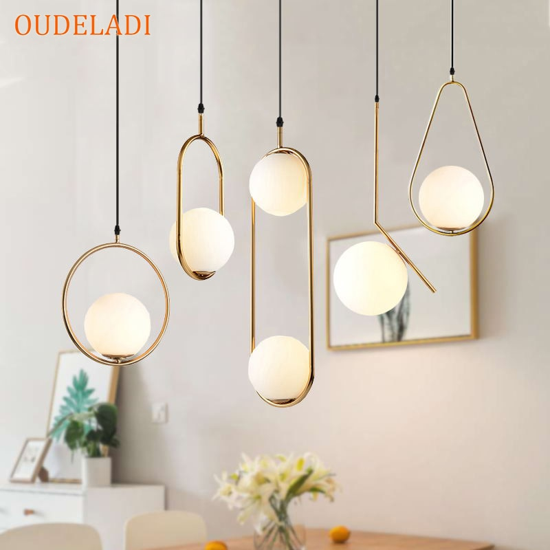 Nordic Glass Ball Pendant Lights Vintage Hoop Gold Modern LED Hanging Lamp for Living Room Home Loft