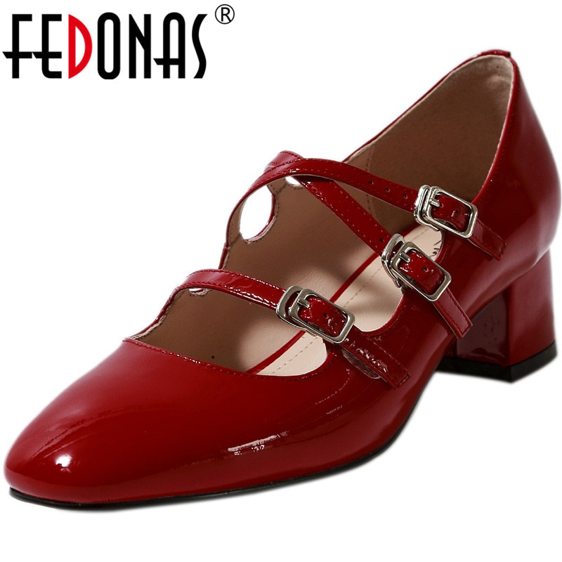 FEDONAS Mary Janes Red Women Shoes Fashion Genuine Leather Thick High Heels Pumps 2021 Summer Autumn Wedding Party Shoes Woman