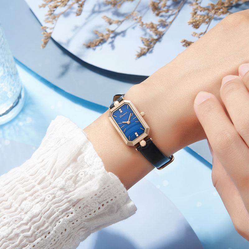 ساعة كوارتز مربعة ذهبية ووردية للنساء ، ساعة يد مربعة ، مقاومة للماء ، علامة تجارية فاخرة ، حزام جلدي ، طاولة ، مجموعة جديدة 2021