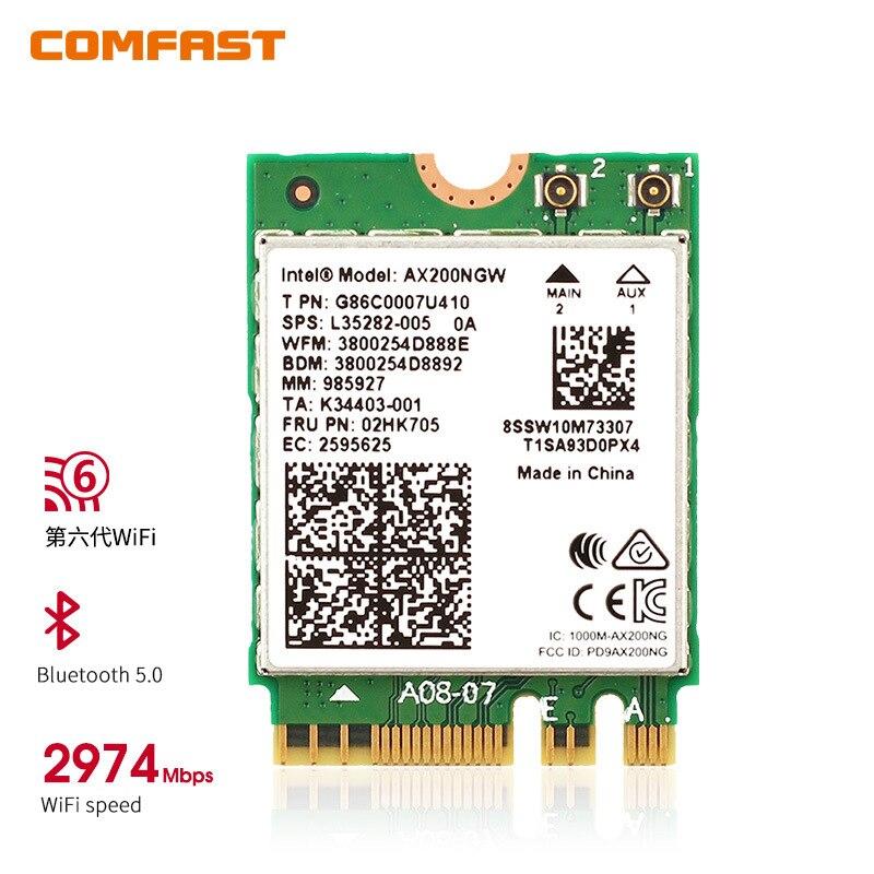 Banda dupla sem fio ax200ngw 2.4gbps 802.11ax wi-fi sem fio para wifi wlan cartão