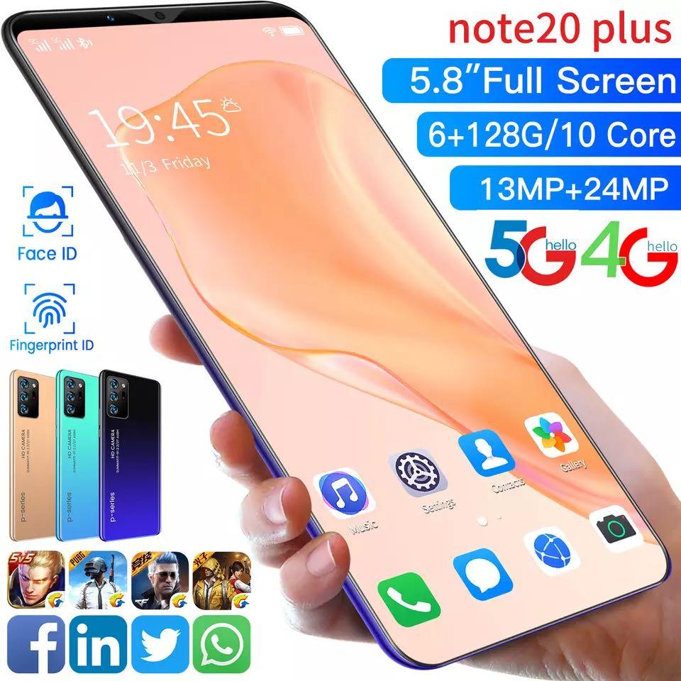 Note 20 Plus Face Fingerprint Unlock Fullscreen Global Version Smartphone MobilePhone 4800mAh 10 Core Game Cellphone Android 10