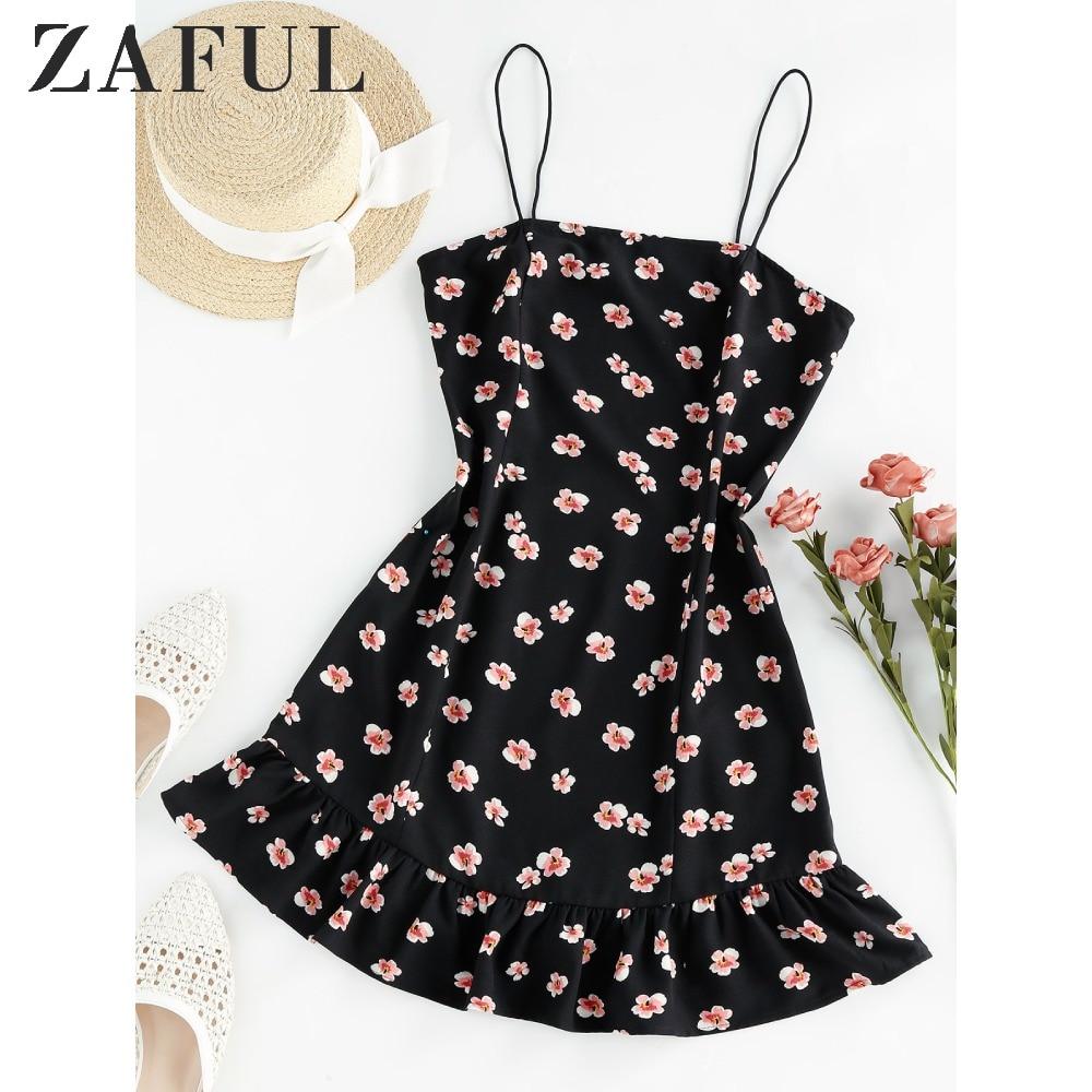 ZAFUL Flounce Floral Print Cami Dress Party Dress Mini Slip Dress Flower Dress 2020 Spaghetti Strap A-Line Summer WomenS Dress