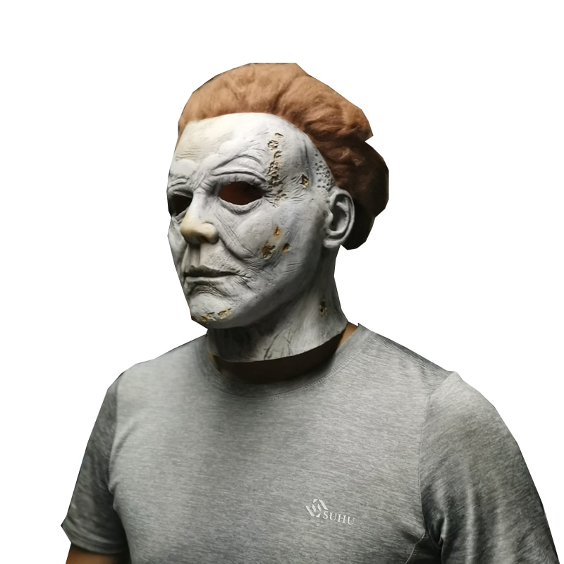 HaleyChan Halloween Carnival Michael Myers Ghost Latex Headgear Horror Mask Cosplay Michael Myers Mask for Festival Party Purim недорого