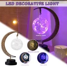 Iron USB 3D Night Lights Bulb Moon Shape Bedroom Lamp for Kids Desktop Decor Handmade Art Home Decor