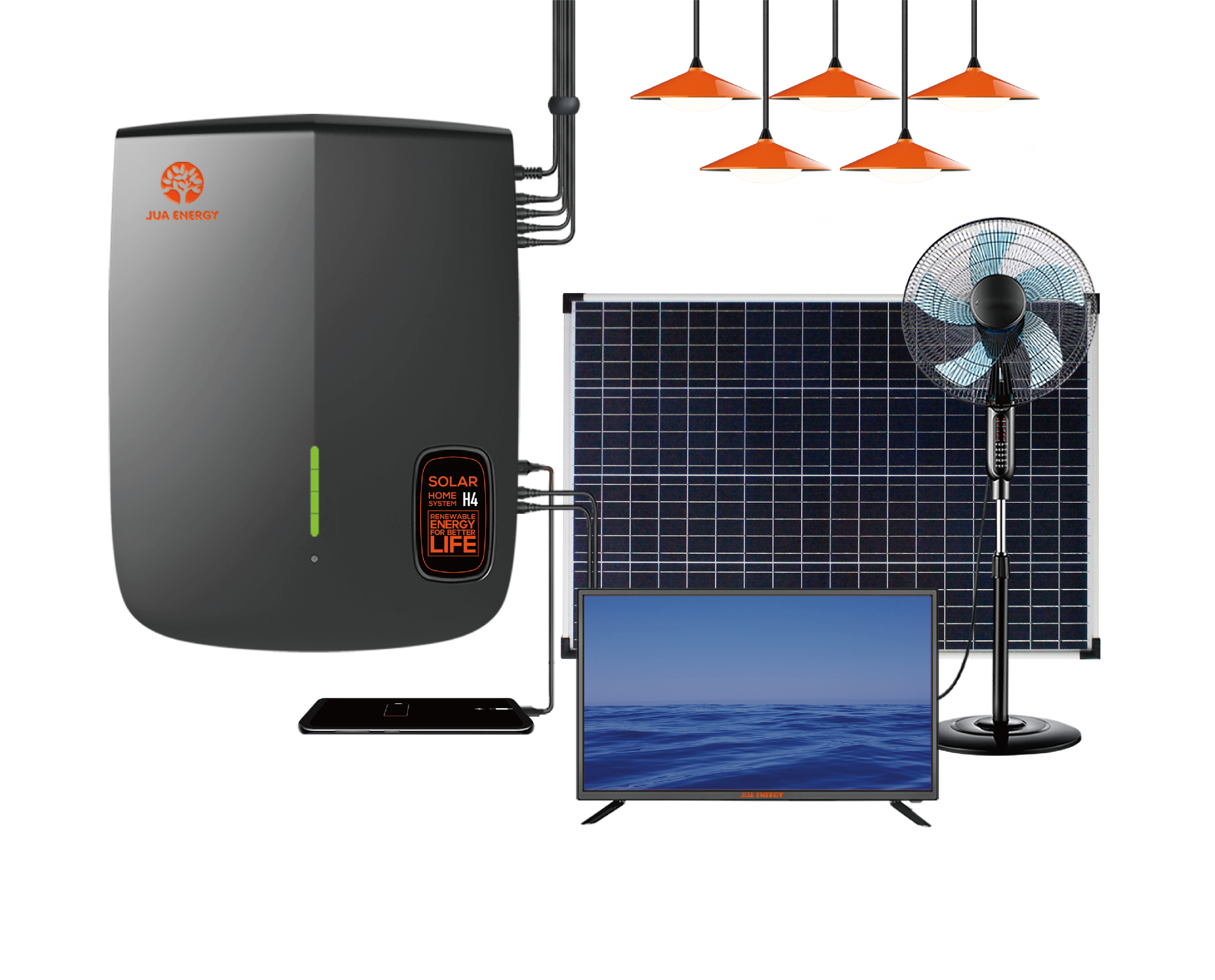 JUA الطاقة 100 واط لوحة طاقة شمسية 12 فولت تيار مستمر مروحة تعمل بالطاقة الشمسية 32 بوصة التلفزيون الشمسية LED إضاءة داخلية نظام الطاقة الشمسية لأف...
