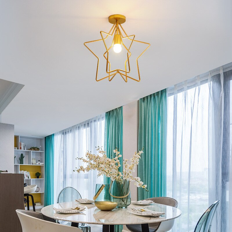 LED Ceiling Light Modern Lamp Living Room Lighting Fixture Bedroom Kitchen Surface Mount Star Ceiling Lights macarons ceiling lamps rose colors metal lamp body acrylic lamp shade colorful post modern ceiling light led lighting fixture