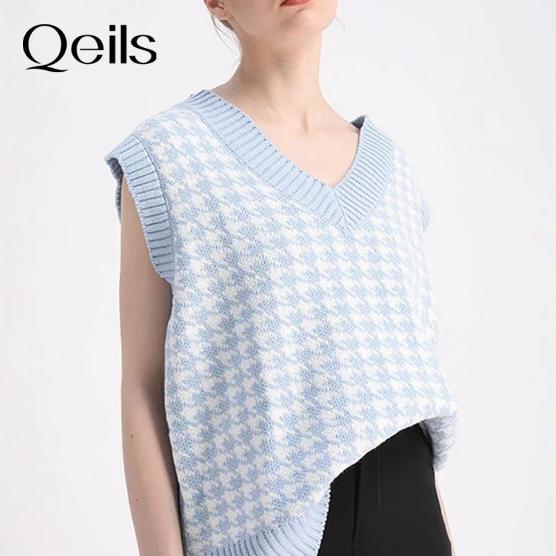 Qeils Women 2021 Fashion Oversized Houndstooth Knitted Vest Sweater Vintage Sleeveless Side Vents Fe