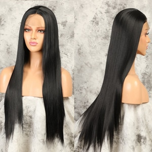 26inch 180% Synthetic Straight Lace Front Wigs For Women Long Straight Fake Natural Hair Wig Straight Lace Synthetic Hair Wig